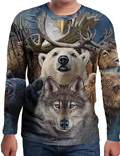 voordelige Heren T-shirts & tanktops-Heren Print EU / VS maat - T-shirt Kleurenblok / 3D / dier Ronde hals Sneeuwvlok / Kerstman Bruin / Lange mouw