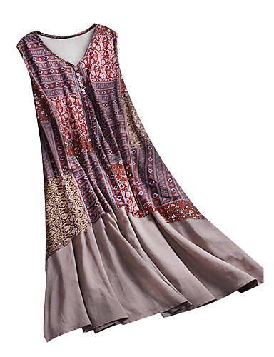 abordables Robes Femme-Femme Basique Chic de Rue Midi Patineuse Robe - Imprimé, Tribal Rouge XXL XXXL XXXXL Sans Manches