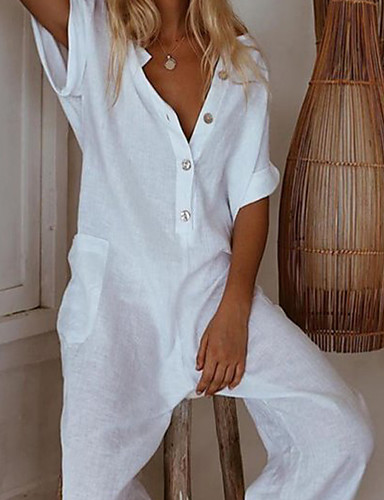 cheap Women's Jumpsuits & Rompers-Women's Sophisticated Black Wine White Wide Leg Romper, Solid Colored Patchwork S M L Cotton