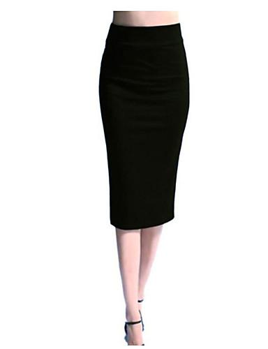 Kadın's Bandaj Etekler - Solid Siyah YAKUT S M L