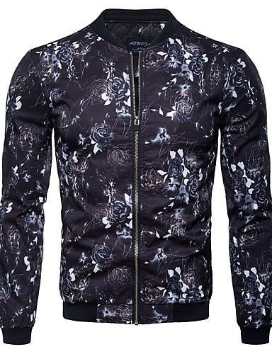 Erkek Günlük Sonbahar Kış Normal Ceketler, Zıt Renkli Dik Yaka Uzun Kollu Polyester Havuz US32 / UK32 / EU40 / US34 / UK34 / EU42 / US36 / UK36 / EU44
