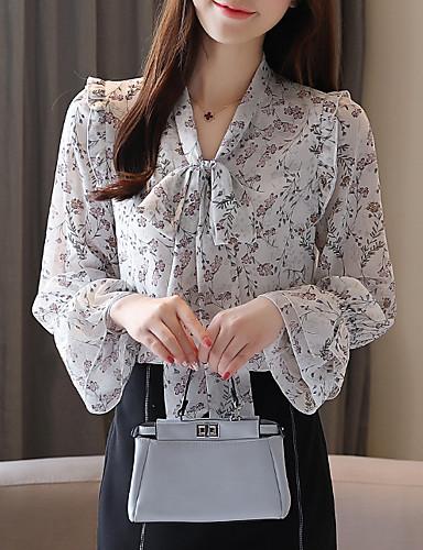 billige Dametopper-Skjorte Dame - Grafisk, Blondér / Trykt mønster Grunnleggende Tropisk blad Lyseblå