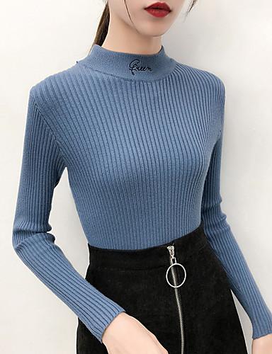 abordables Hauts pour Femmes-Femme Couleur Pleine Manches Longues Pullover, Col Haut Automne Noir / Blanche / Violet Taille unique