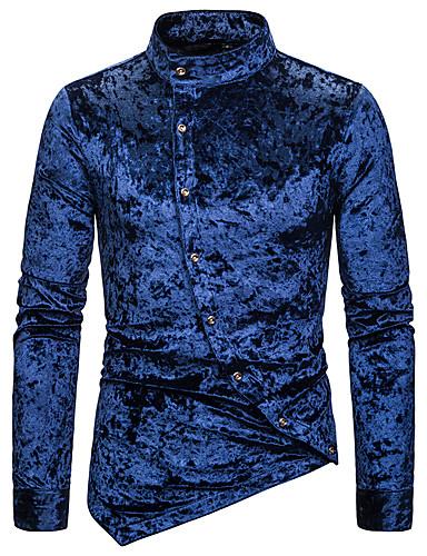 voordelige Heren T-shirts & tanktops-Heren Vintage Geplooid Overhemd Paisley Opstaande boord Wit / Imitatiebont / Lange mouw