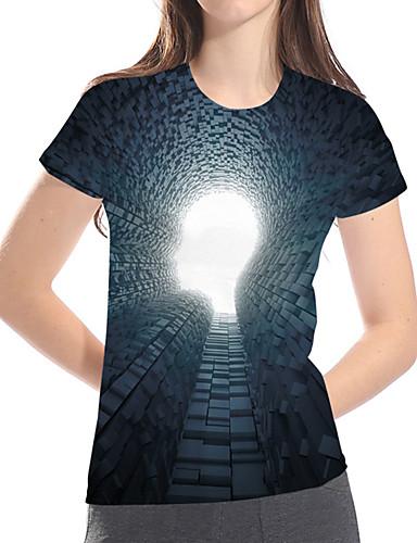 billige Topper til damer-Løstsittende Store størrelser T-skjorte Dame - Geometrisk / 3D / Grafisk, Trykt mønster Grunnleggende / overdrevet Grønn
