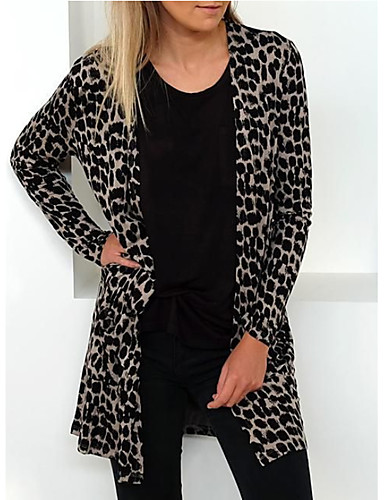 c98789bbbae 여성용 일상 베이직 긴 코트, 레오파드 V 넥 긴 소매 폴리에스테르 블랙 M / L / XL