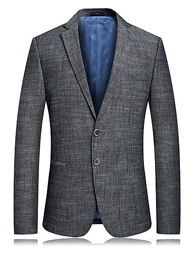 Erkek Günlük Sonbahar Kış Normal Ceketler, Solid Çentik Yaka Uzun Kollu Polyester Gri US32 / UK32 / EU40 / US34 / UK34 / EU42 / US36 / UK36 / EU44