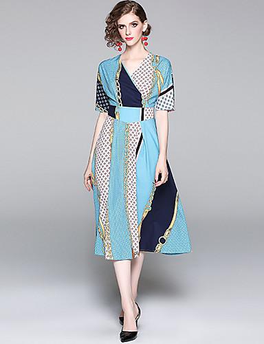 billige Kjoler-Dame Elegant Swing Kjole - Polkadotter Stripet, Trykt mønster Midi