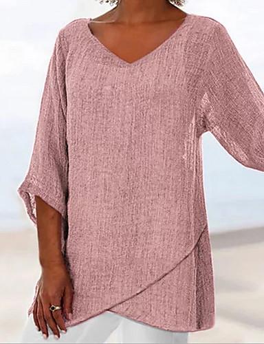 povoljno Ženske majice-Majica s rukavima Žene Dnevni Nosite Pamuk Jednobojni V izrez Širok kroj Dusty Rose Blushing Pink
