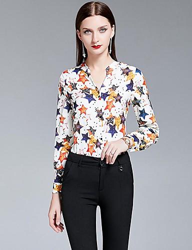 billige Dametopper-Skjorte Dame - Galakse, Trykt mønster Elegant Hvit US4 / UK8 / EU36