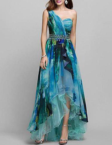 billige Vakre kjoler-Dame Elegant Swing Kjole - Geometrisk, Trykt mønster Enskuldret Asymmetrisk