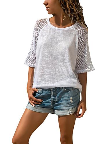 Dame - Ensfarvet T-shirt Hvid