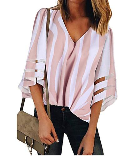 billige Dametopper-Bomull V-hals Skjorte Dame - Stripet, Lapper Gatemote Rosa