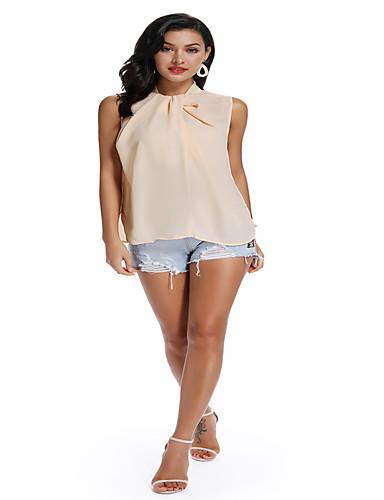 billige Topper til damer-Tynn T-skjorte Dame - Ensfarget, Flettet Chinoiserie / Elegant Hvit Regnbue