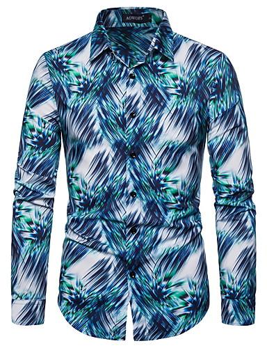 Erkek Gömlek Kırk Yama, 3D Temel AB / ABD Beden Mavi Havuz / Uzun Kollu