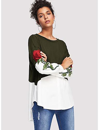 billige Topper til damer-Skjorte Dame - Blomstret / Fargeblokk, Lapper / Broderi Grunnleggende Blå