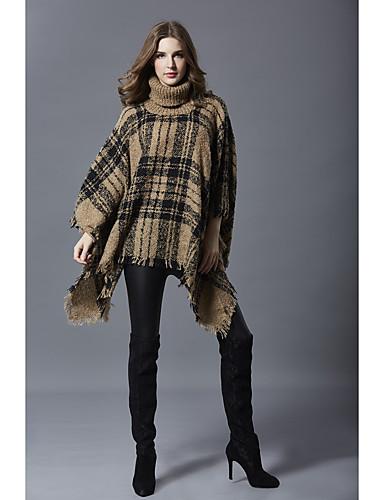 abordables Hauts pour Femmes-Femme Bloc de Couleur Manches Longues Pullover Automne / Hiver Blanche / Rouge / Kaki Taille unique