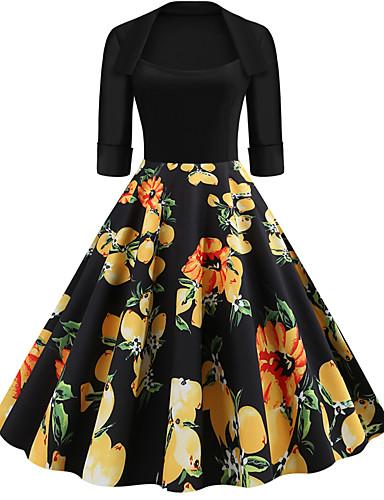 Kadın's Sokak Şıklığı Çan Elbise - Çiçekli, Desen Diz-boyu