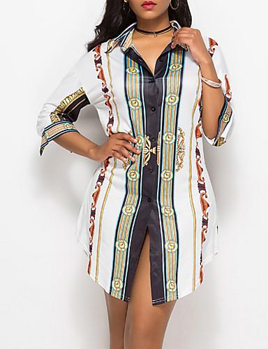 billige Dametopper-Skjorte Dame - Geometrisk Vintage Hvit