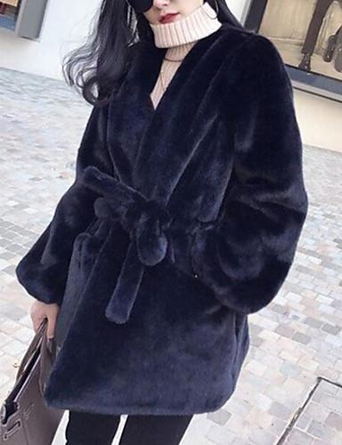 billige Dametopper-Dame Fest / Arbeid Gatemote / Sofistikert Vinter / Høst vinter Lang Faux Fur Coat, Ensfarget Rund hals Langermet Fuskepels Rosa / Blå / Grå S / M / L