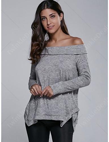 povoljno Ženske majice-Polo Žene - Osnovni Dnevno Jednobojni Sive boje