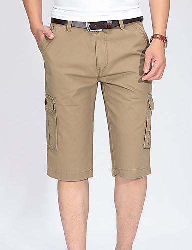 Erkek Temel Şortlar Pantolon - Solid Havuz Yonca Haki US32 / UK32 / EU40 US34 / UK34 / EU42 US36 / UK36 / EU44