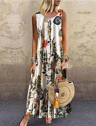 voordelige Maxi-jurken-Dames Schede Jurk - Geometrisch Midi