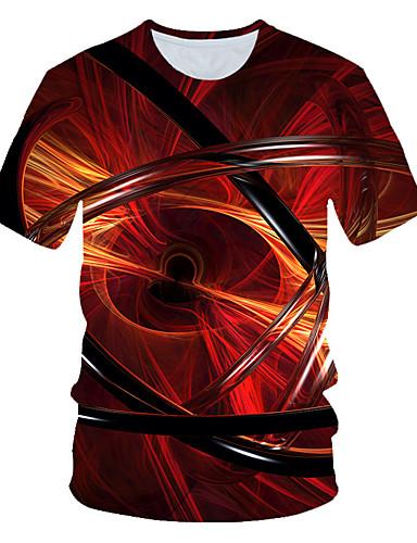 voordelige Heren T-shirts & tanktops-Heren Standaard / Street chic Print T-shirt Geometrisch / 3D Rood