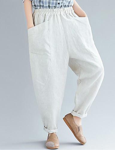 abordables Pantalons Femme-Femme Chinoiserie Sarouel Pantalon - Couleur Pleine Noir Rouge Beige M L XL