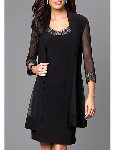 cheap Mini Dresses-Women's Elegant Shift Dress - Solid Colored Black M L XL XXL