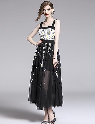 voordelige Maxi-jurken-Dames Elegant Wijd uitlopend Jurk - Bloemen, Netstof Patchwork Geborduurd Maxi