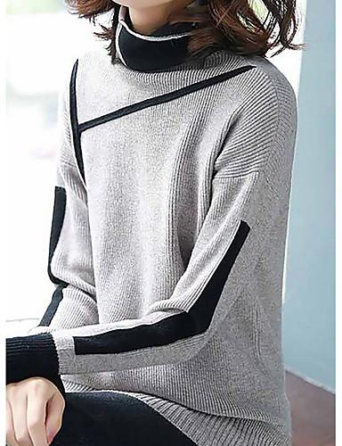 abordables Hauts pour Femmes-Femme Bloc de Couleur Manches Longues Pullover, Col Roulé Noir / Gris Clair / Vert S / M / L