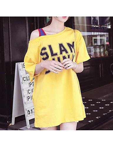 billige Dametopper-T-skjorte Dame - Ensfarget Grunnleggende Svart