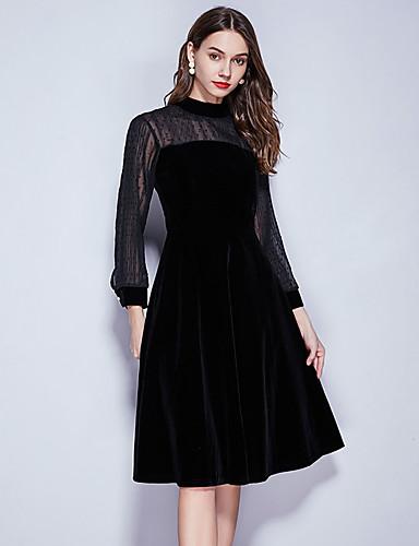 abordables Robes Femme-Femme Rétro Vintage Basique Mi-long Trapèze Noir Robe - Mosaïque, Couleur Pleine Noir S M L Manches Longues