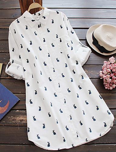 billige Kjoler-Dame Grunnleggende Gatemote Skjorte Kjole - Dyr, Trykt mønster Ovenfor knéet