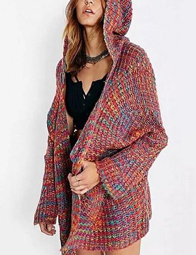 povoljno Ženske majice-Žene Color block Dugih rukava Kardigan, S kapuljačom Duga S / M / L
