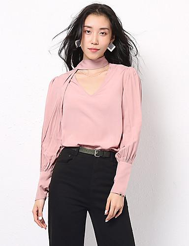 abordables Hauts pour Femme-Tee-shirt Femme, Couleur Pleine Lacet Rétro Vintage / Elégant Rose Poudré Rose Claire