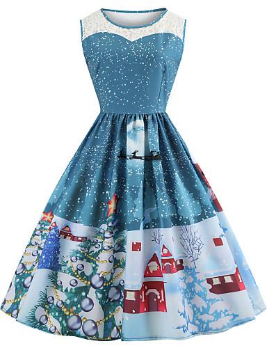 abordables Robes Femme-Femme Rétro Vintage Mi-long Trapèze Robe - Maille Mosaïque Imprimé, Motif de flocon de neige Violet Bleu Rouge S M L Sans Manches