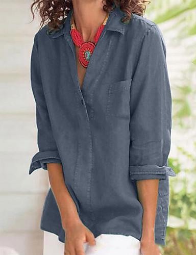 abordables Hauts pour Femme-Chemise Femme, Couleur Pleine Bleu