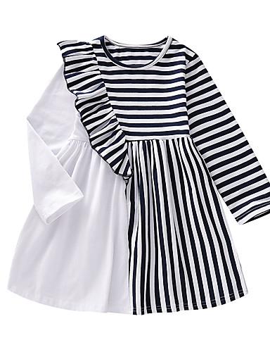 Çocuklar Toddler Genç Kız Temel sevimli Stil Çizgili Kırk Yama Kolsuz Diz-boyu Elbise Havuz / Pamuklu