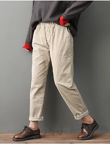 abordables Pantalons Femme-Femme Basique Sarouel Pantalon - Couleur Pleine Mosaïque Marron Gris Foncé Beige S M L