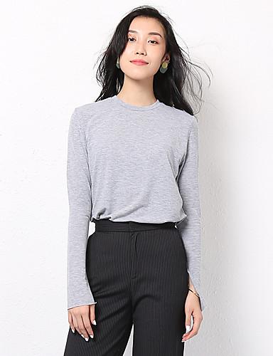 billige Topper til damer-T-skjorte Dame - Ensfarget, Lapper Grunnleggende Svart Svart
