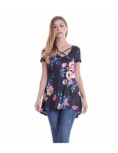 abordables Hauts pour Femmes-Tee-shirt Femme, Géométrique Croisé / Imprimé Bohème Fleur du soleil Noir