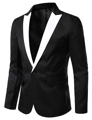 voordelige Herenblazers & kostuums-Heren Blazer, Effen Ingesneden revers Rayon / Polyester Zwart / Wit