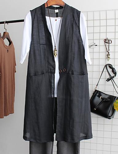 voordelige Damesblazers & jasjes-Dames Dagelijks Standaard Lang Vest, Effen V-hals Mouwloos Polyester Zwart / Grijs / Wijn