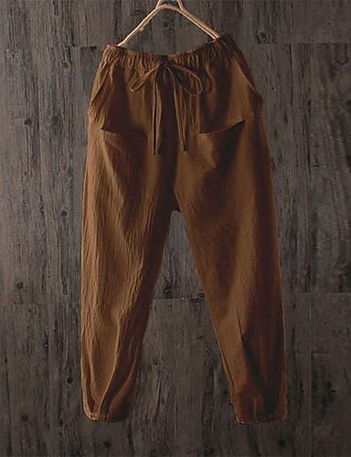 abordables Pantalons Femme-Femme Basique / Chic de Rue Ample Jogger Pantalon - Couleur Pleine Noir / Blanc, Mosaïque Coton Marron Blanche Noir XXXL XXXXL XXXXXL