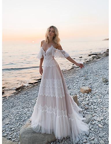 billige Bryllupskjoler 2019-A-linje V-hals Svøpeslep Blonder / Tyll Made-To-Measure Brudekjoler med Blonder av LAN TING Express