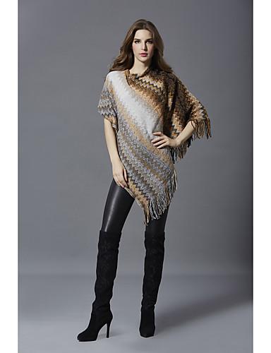 abordables Hauts pour Femmes-Femme Bloc de Couleur Manches 3/4 Pullover Automne / Hiver Rouge / Gris / Kaki Taille unique