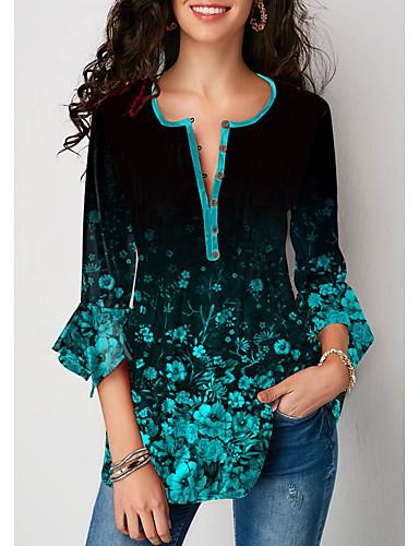 hesapli Tişört-Kadın's Tişört Çiçekli Sokak Şıklığı Yonca