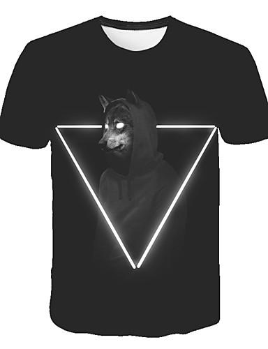 Erkek Tişört Desen, Geometrik / 3D / Hayvan Sokak Şıklığı / Abartılı Siyah